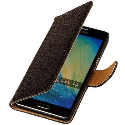 Zwart Slang Booktype Hoesje voor Samsung Galaxy A3 2016 Wallet Cover