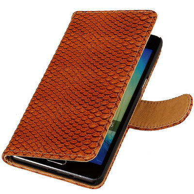 Bruin Slang Booktype Hoesje voor Samsung Galaxy A3 2016 Wallet Cover
