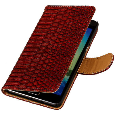 Rood Slang Booktype Hoesje voor Samsung Galaxy A3 2016 Wallet Cover