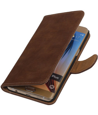 Bruin Bark Hout Booktype Samsung Galaxy S7 Plus Wallet Cover Hoesje