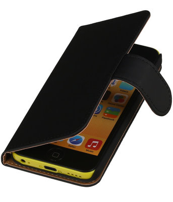 Zwart Effen Booktype Hoesje voor Apple iPod Touch 4 Wallet Cover