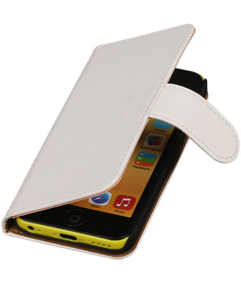 Wit Effen Booktype Hoesje voor Apple iPod Touch 4 Wallet Cover