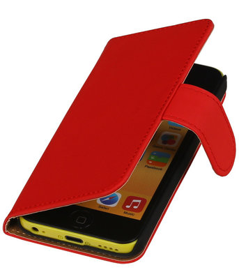 Rood Effen Booktype Apple iPod Touch 4 Wallet Cover Hoesje