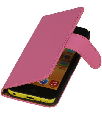 Roze Effen Booktype Apple iPod Touch 4 Wallet Cover Hoesje