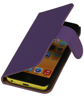 Paars Effen Booktype Hoesje voor Apple iPod Touch 4 Wallet Cover
