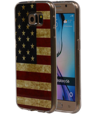 Amerikaanse Vlag TPU Cover Case voor Samsung Galaxy S6 Hoesje