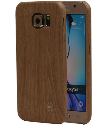 Licht Bruin Hout QY TPU Cover Case voor Samsung Galaxy S6 Hoesje