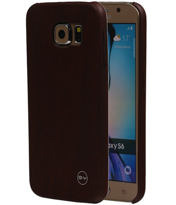 Donker Bruin Hout QY TPU Cover Case voor Samsung Galaxy S6 Hoesje