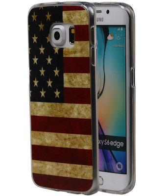 Amerikaanse Vlag TPU Cover Case voor Hoesje voor Samsung Galaxy S6 Edge