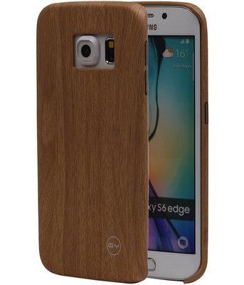 Licht Bruin Hout QY TPU Cover Case voor Hoesje voor Samsung Galaxy S6 Edge