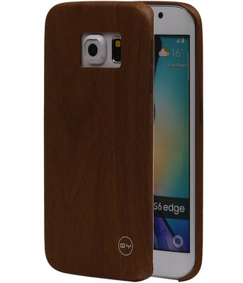 Bruin Hout QY TPU Cover Case voor Hoesje voor Samsung Galaxy S6 Edge