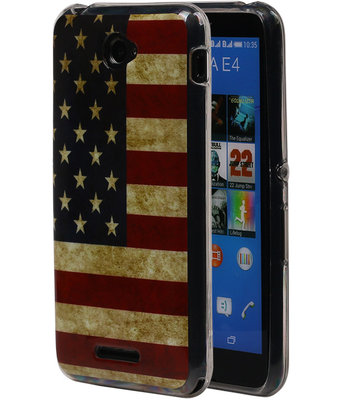 Amerikaanse Vlag TPU Cover Case voor Hoesje voor Sony Xperia E4