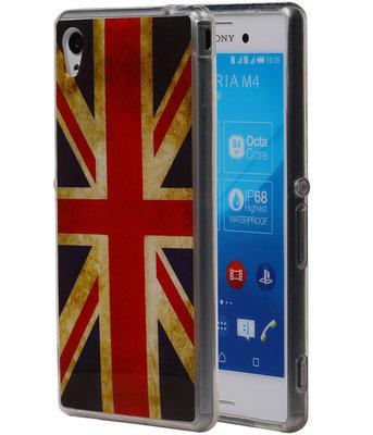 Britse Vlag TPU Cover Case voor Hoesje voor Sony Xperia M4 Aqua