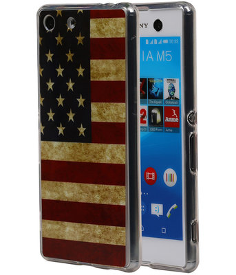 Amerikaanse Vlag TPU Cover Case voor Hoesje voor Sony Xperia M5