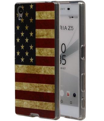 Amerikaanse Vlag TPU Cover Case voor Hoesje voor Sony Xperia Z5