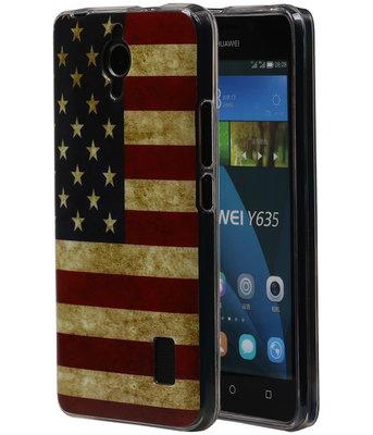 Amerikaanse Vlag TPU Cover Case voor Huawei Y635 Hoesje