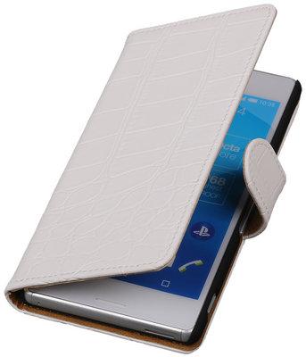 Hoesje voor Sony Xperia M4 Aqua Croco Booktype Wallet Wit