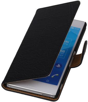 Hoesje voor Sony Xperia M4 Aqua Croco Booktype Wallet Zwart