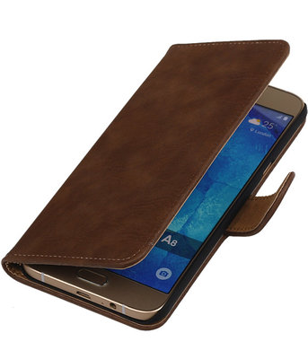 Bruin Hout Booktype Hoesje voor Samsung Galaxy Grand Neo Wallet Cover