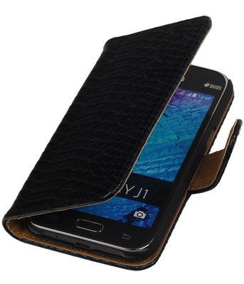 Zwart Slangen / Snake Design Book Cover Hoesje Samsung Galaxy J1 2015