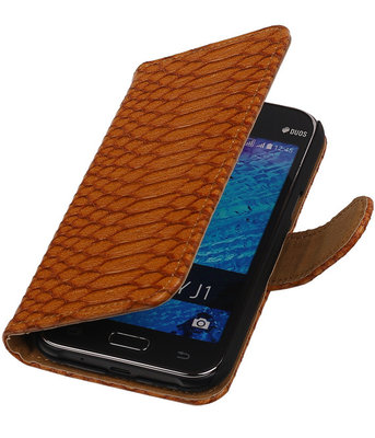 Bruin Slangen / Snake Design Book Cover Hoesje Samsung Galaxy J1 2015
