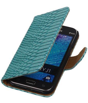 Turquoise Slangen / Snake Design Book Cover Hoesje Samsung Galaxy J1 2015