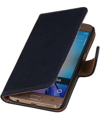Hout Donker Blauw Hoesje voor Samsung Galaxy S6 Book Wallet Case