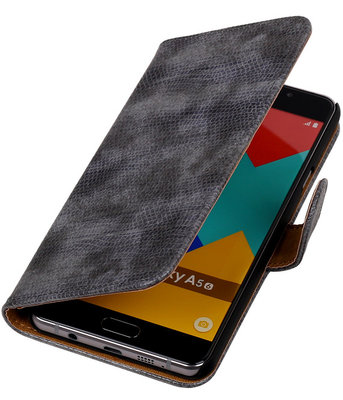 Grijs Mini Slang Booktype Hoesje voor Samsung Galaxy A5 2016 Wallet Cover