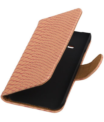 Hoesje voor Apple iPhone 4/4s - Slang Roze Bookstyle Wallet