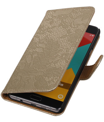 Goud Lace Booktype Hoesje voor Samsung Galaxy A5 2016 Wallet Cover