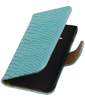 Hoesje voor Apple iPhone 4/4s - Slang Turquoise Bookstyle Wallet