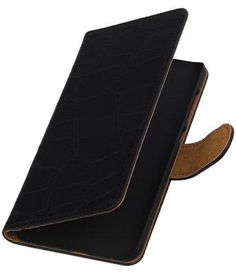 Hoesje voor HTC One E9 Plus Booktype Krokodil Zwart