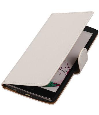 Hoesje voor LG G3 Effen Booktype Wallet Wit