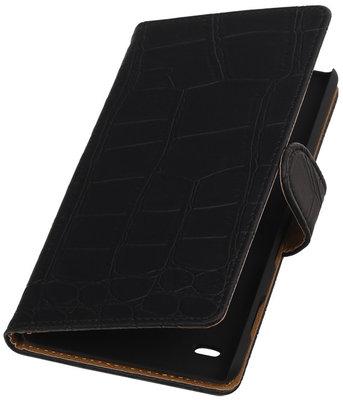 Hoesje voor Sony Xperia C4 Booktype Krokodil Zwart