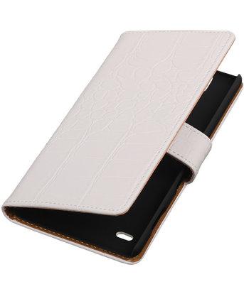 Hoesje voor Sony Xperia C4 Booktype Krokodil Wit