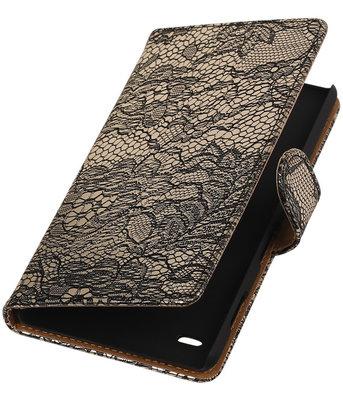 Hoesje voor Sony Xperia C4 Lace Kant Booktype Wallet Zwart