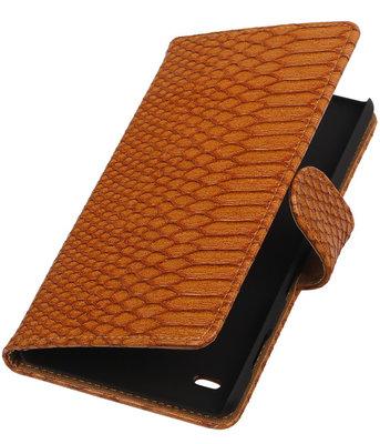 Hoesje voor Sony Xperia C4 Snake Slang Booktype Wallet Bruin