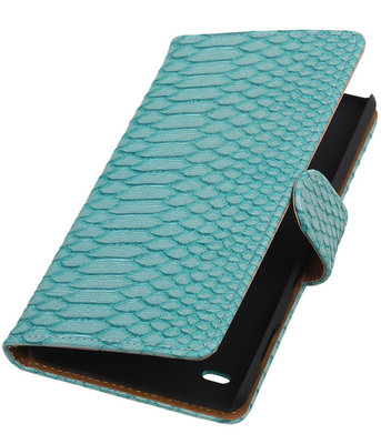 Hoesje voor Sony Xperia C4 Snake Slang Booktype Wallet Turquoise
