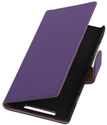 Nokia Lumia 830 Effen Booktype Wallet Hoesje Paars