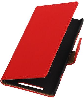 Nokia Lumia 830 Effen Booktype Wallet Hoesje Rood