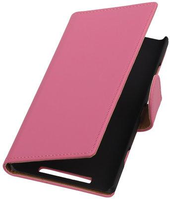 Nokia Lumia 830 Effen Booktype Wallet Hoesje Roze