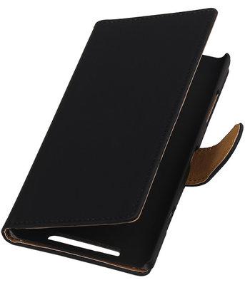 Nokia Lumia 830 Effen Booktype Wallet Hoesje Zwart