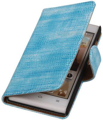 Hoesje voor Huawei Ascend G6 4G - Mini Slang Turquoise Booktype Wallet