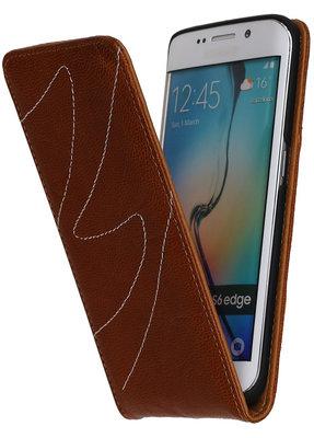 Bruin Classic Echt Leer Map Flip voor Hoesje voor Samsung Galaxy S6 Edge