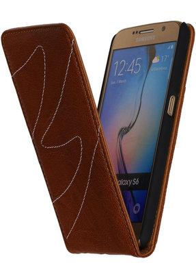 Bruin Classic Echt Leer Map Flip voor Hoesje voor Samsung Galaxy S6