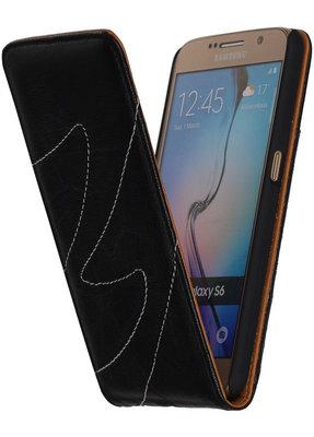 Zwart Classic Echt Leer Map Flip voor Hoesje voor Samsung Galaxy S6