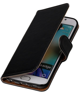 Zwart Pull-Up PU Hoesje voor Samsung Galaxy S6 Edge Booktype Wallet Cover
