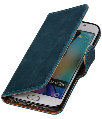 Blauw Pull-Up PU Hoesje voor Samsung Galaxy S6 Edge Booktype Wallet Cover