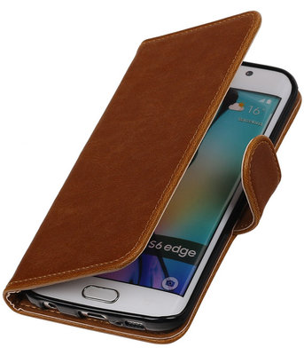 Bruin Pull-Up PU Hoesje voor Samsung Galaxy S6 Edge Booktype Wallet Cover