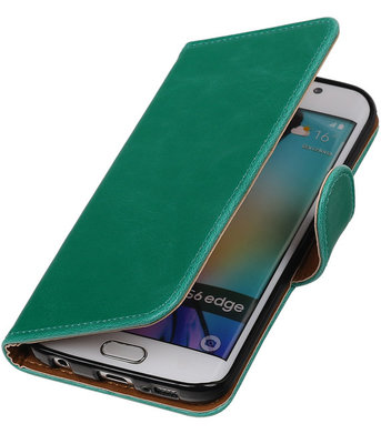 Groen Pull-Up PU Hoesje voor Samsung Galaxy S6 Edge Booktype Wallet Cover